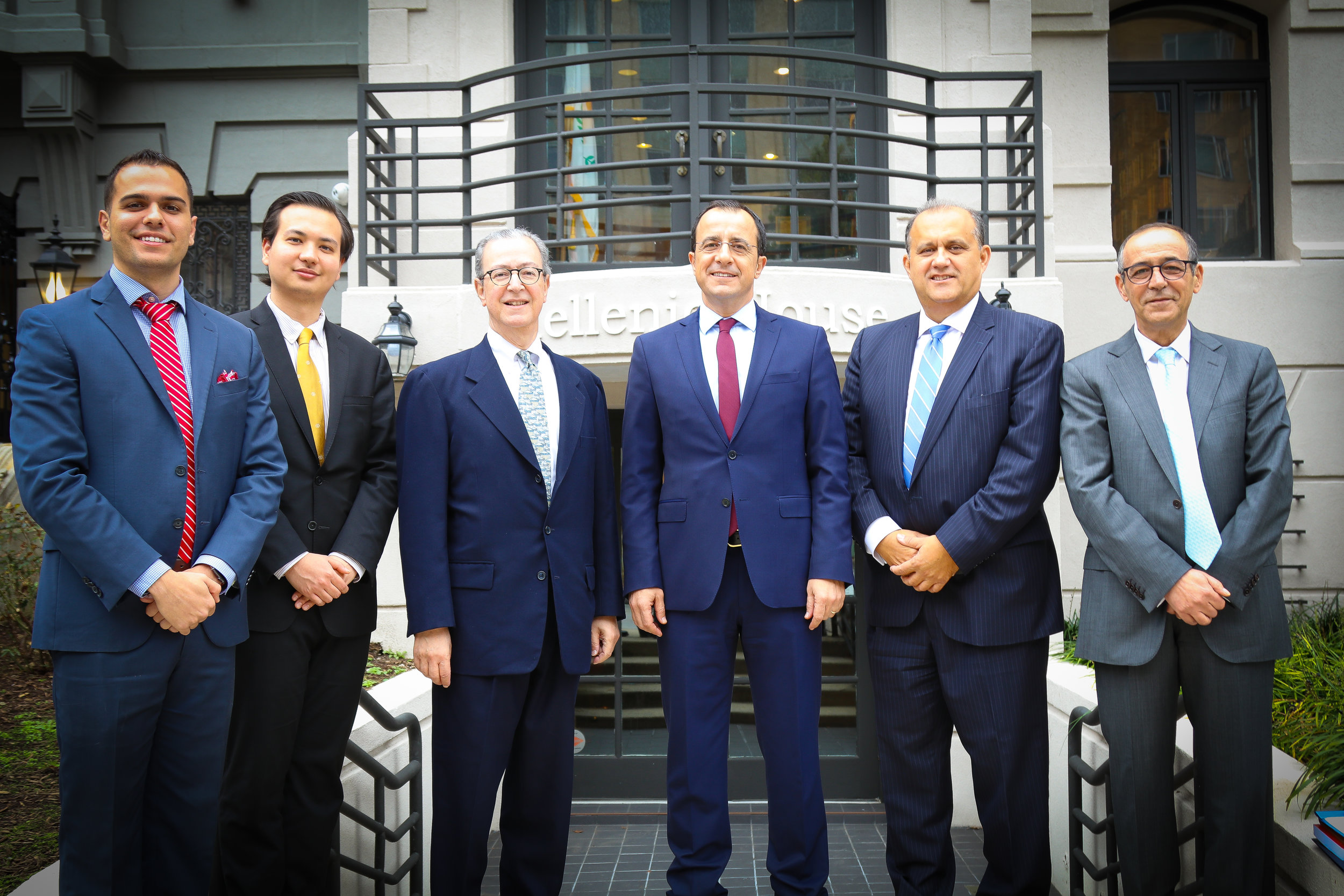 (R-L) Peter Milios, AHI Legislative Director; Elias Gerasoulis, AHI Legislative Assistant; James Marketos, Esq., AHI Board Member; Nikos Christodoulides, Foreign Minister of Cyprus; Nick Larigakis, AHI President, Ambassador Marios Lyssiotis, Ambassador of Cyprus to the U.S.