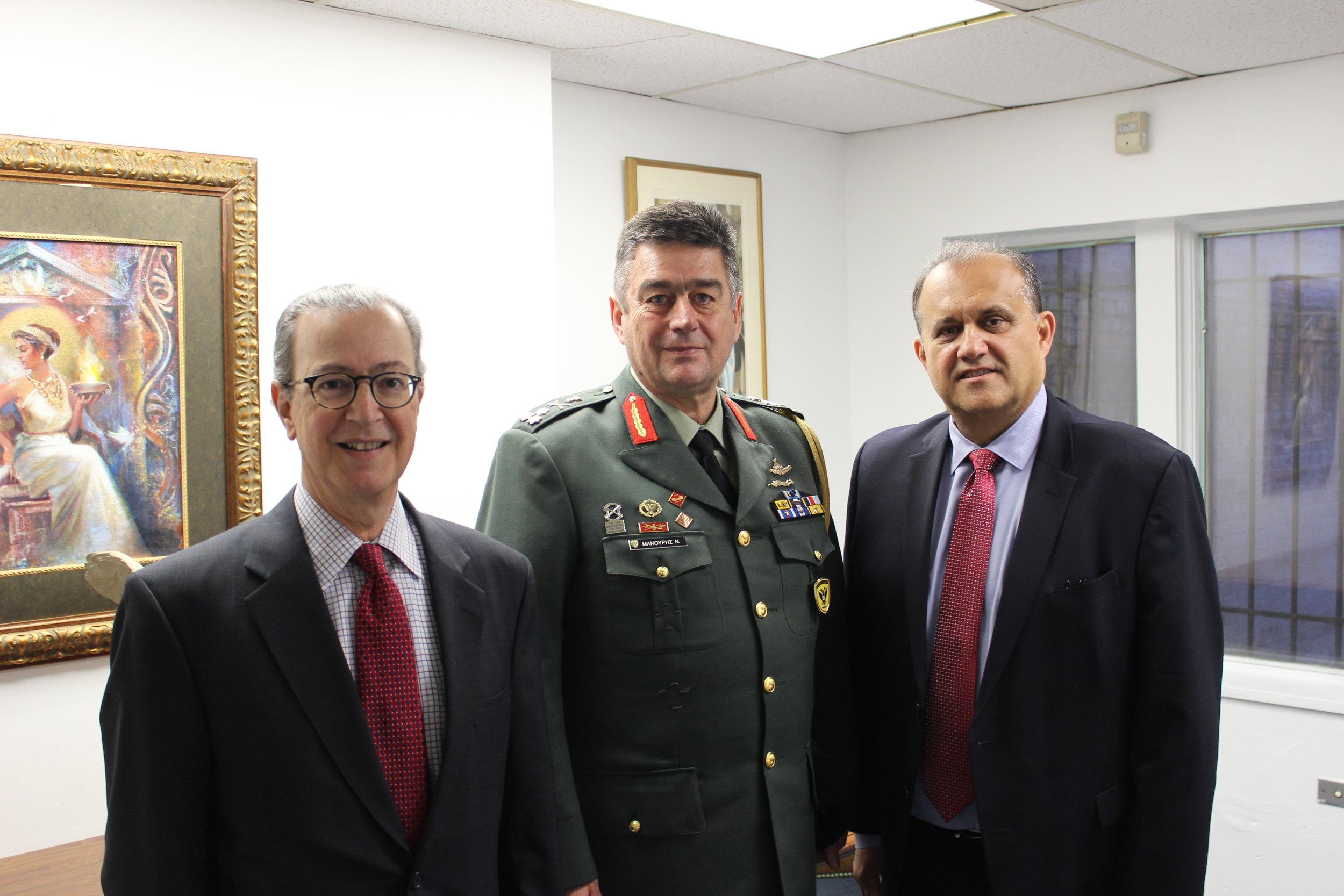 (L-R) James Marketos, Esq., AHI Board Member, Lt. General Nikolaos Manouris, and Nick Larigakis.