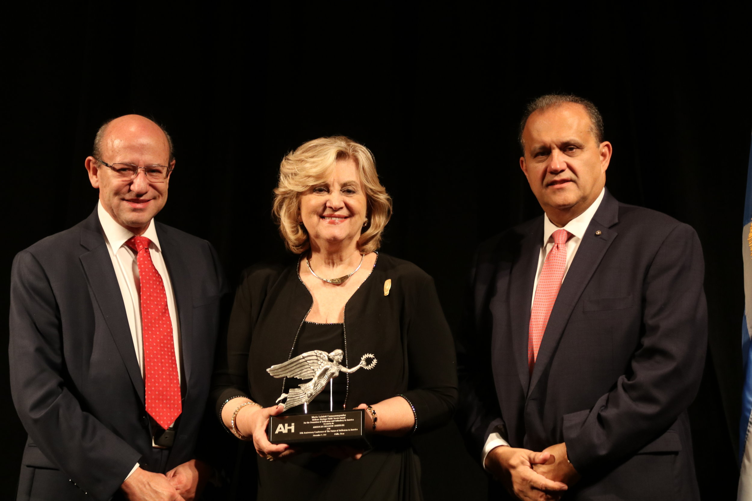 Maria Lainioti Carayannopoulos receives the AHI Hellenic Heritage Award for the Promotion of Hellenism and Orthodoxy in America.