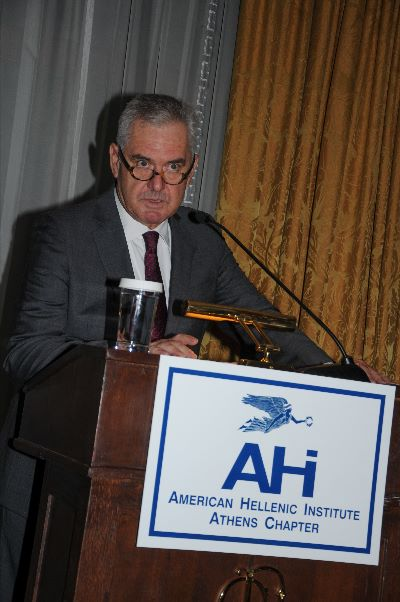 AHI-Athens Chapter Vice President, Retired Vice Admiral Vasilis Kyriazis, Providing Opening Greetings