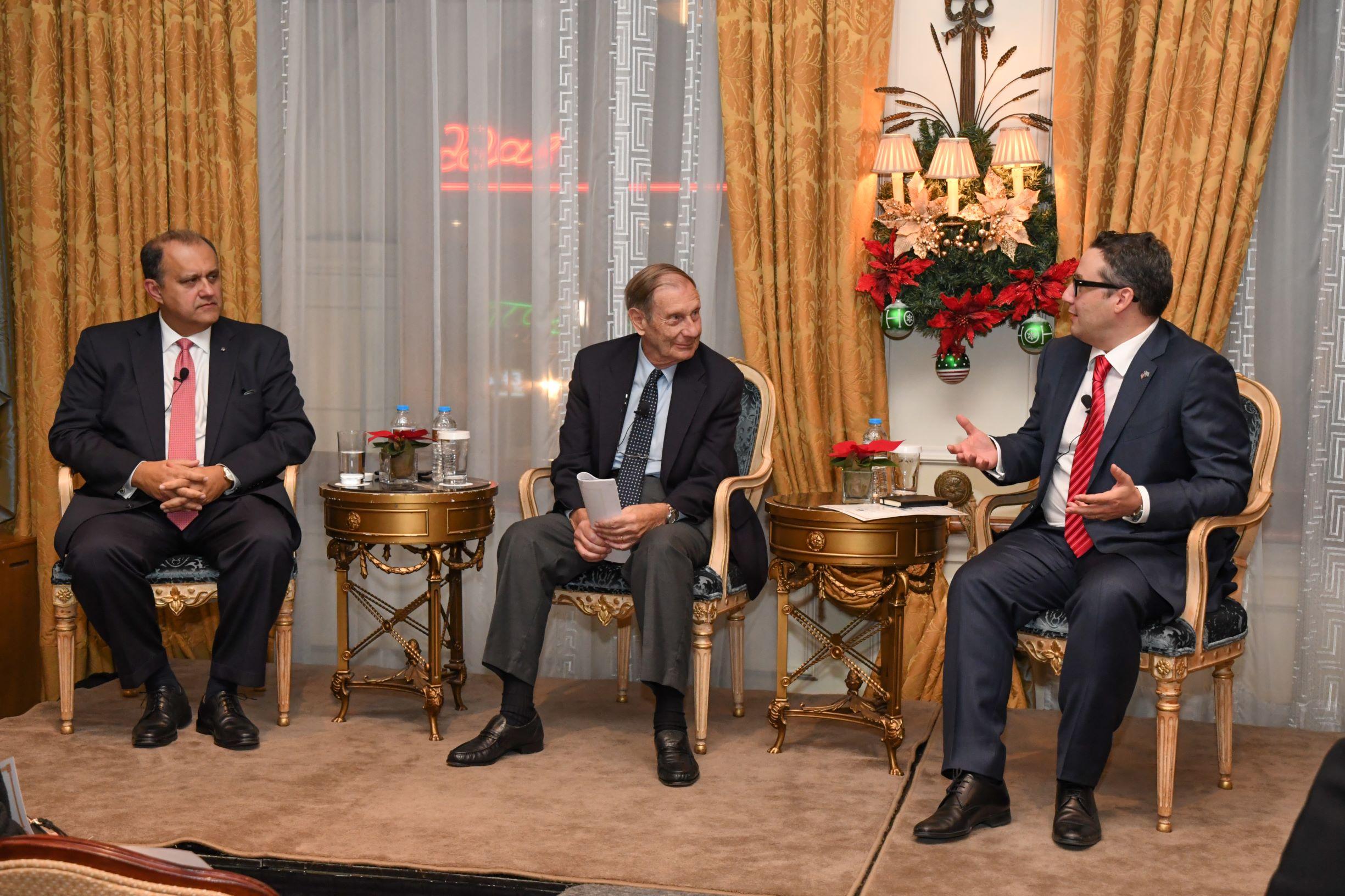 (L-R) President Larigakis, AHI Board Member Dr. Van Coufoudakis, & Panel Moderator Dr. Aristotle Tziampiris
