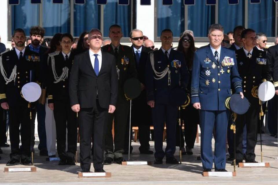 AHI President Larigakis (C) attending ceremony with Minister of Defense Evangelos Apostolakis (L) & Lt. General Christos Christodoulou, Chief of the Hellenic National Defense General Staff (R)