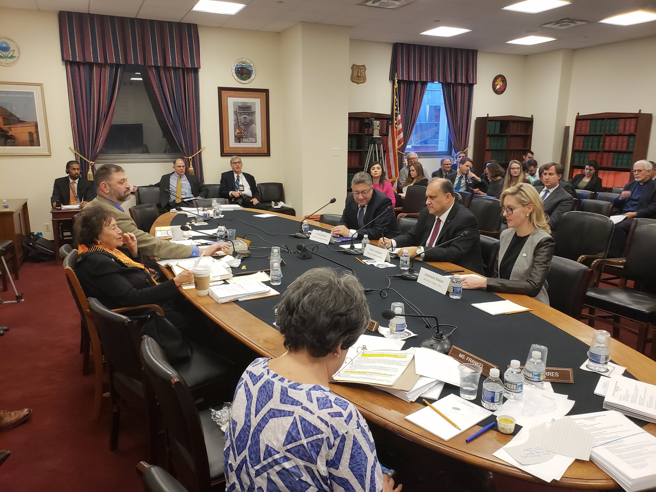 AHI President Larigakis Providing Testimony To the House Appropriations Subcommittee on State, Foreign Operations, and Related Programs, With Congresswoman Nita Lowey (L) & Congresswoman Lois Frankel (R)