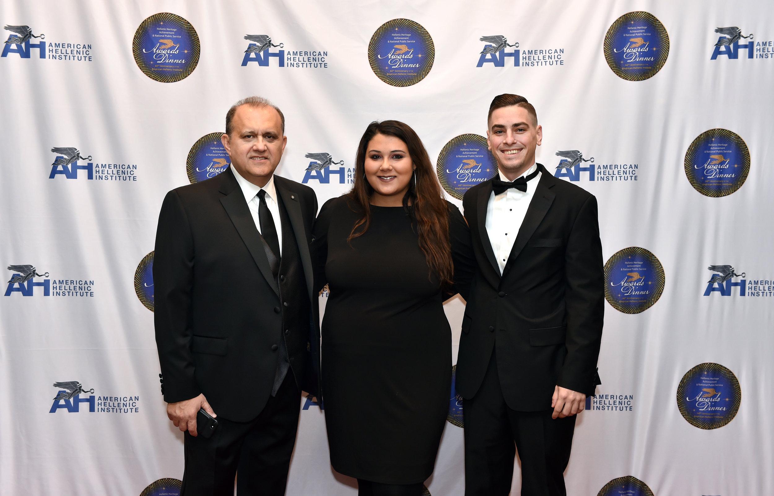 Nick Larigakis with his daughter Panayiota Larigakis and her fiancé Nick Pastore