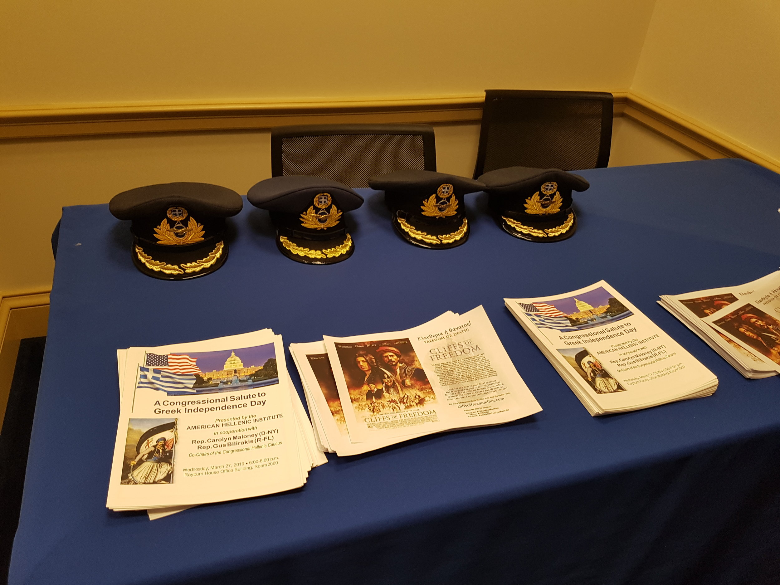 Hats Worn By Defense Attaches, Advertisements For The Film  Cliffs of Freedom , And Programs For The Congressional Salute To Greek Independence Day Event