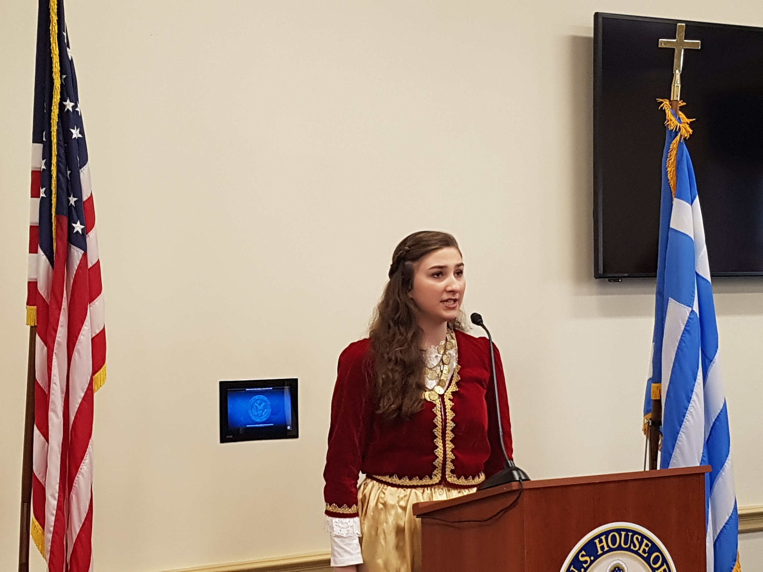 Sophia Pelekasis, Performing Both Greek & American National Anthems, At AHI's Congressional Salute To Greek Independence Day