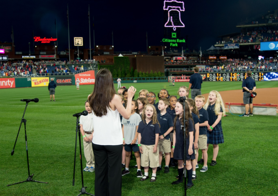 Greek Choir of Odyssey Charter School, Wilmington, Del., performing the national anthem at Greek Heritage Night in Philly (courtesy of the Philadelphia Phillies)