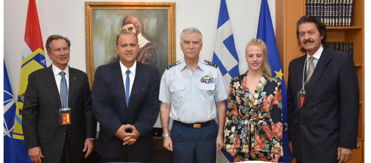 (L-R) AHI Board Members Leon Andris, Nick Larigakis, Dr. Athina Balta, and Kostas Alexakis with General Christos Christodoulou (C), the Chief of Hellenic National Defense General Staff