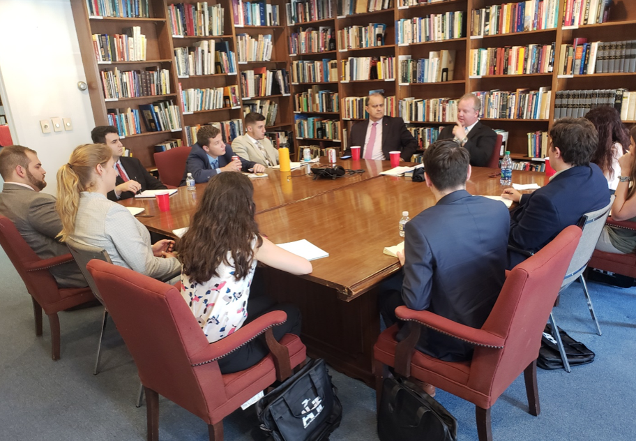 Eric Fusfield, Deputy Director, B'nai B'rith International Center for Human Rights and Public Policy, briefing the AHIF student trip group