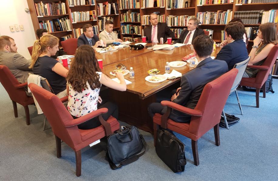 Amb. Tom Miller, former U.S. Ambassador to Greece, briefing the AHIF student trip group