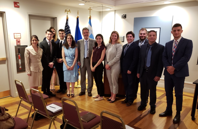 AHIF students with Haris Lalacos, Greece's Ambassador to the U.S.