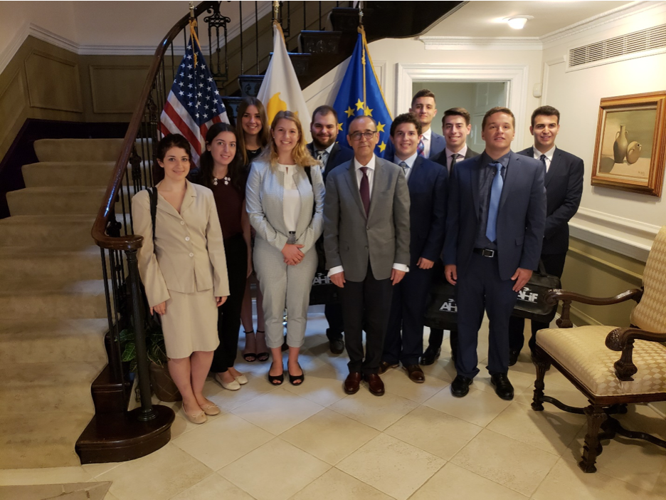AHIF students with Marios Lyssiotis, Cyprus Ambassador to the U.S.