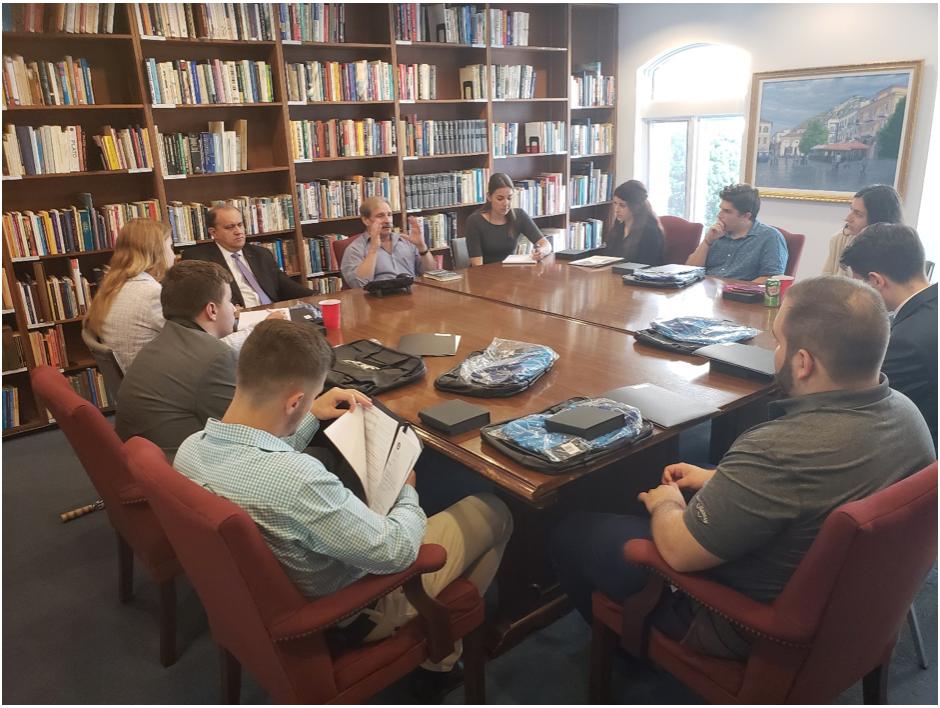Nick Karambelas, Esq. Sfikas & Karambelas LLP and AHI Treasurer, briefing the AHIF student trip group