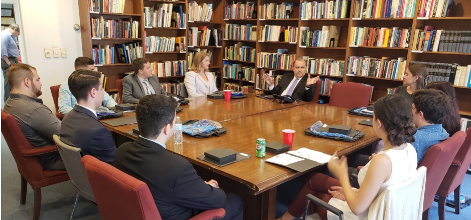 AHI President Larigakis providing the opening briefing for the American Hellenic Institute Foundation (AHIF) College Student Foreign Policy Study Trip Delegation