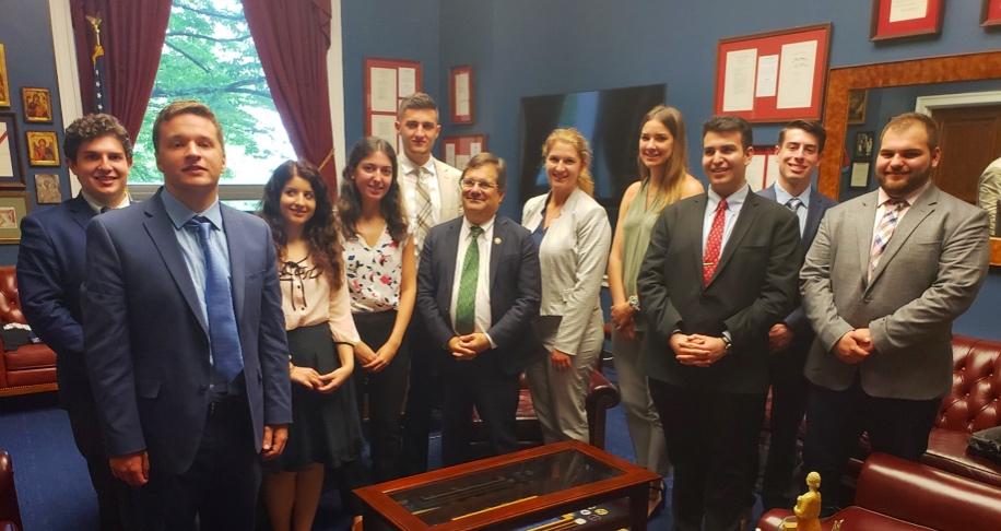 AHIF students with Hellenic Caucus co-chair, Rep. Gus Bilirakis (R-FL)