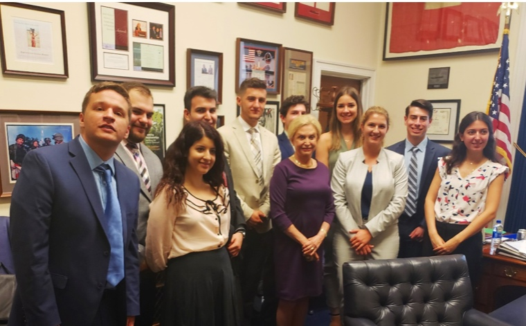 AHIF students with Hellenic Caucus co-chair, Rep. Carolyn Maloney (D-NY)