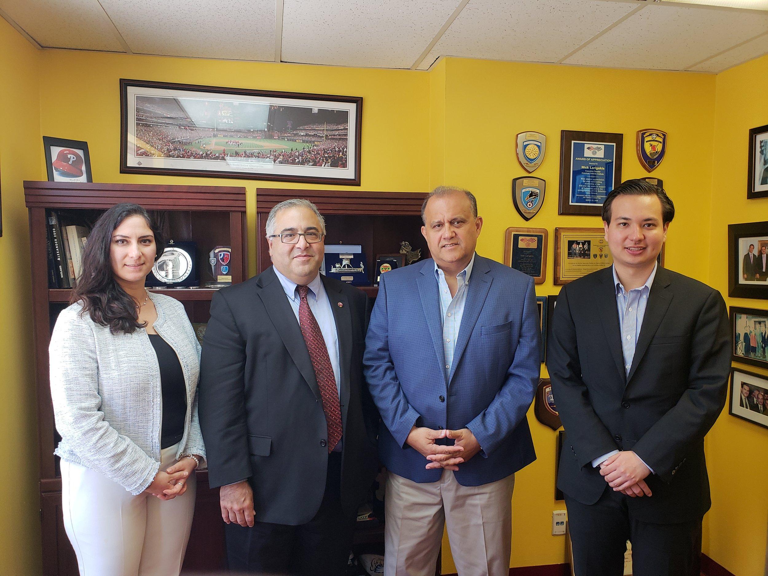 (L-R) Tereza Yeriman, ANCA Government Affairs Director, ANCA Executive Director Aram Hamparian, AHI President Larigakis, and Legislative Assistant Elias Gerasoulis
