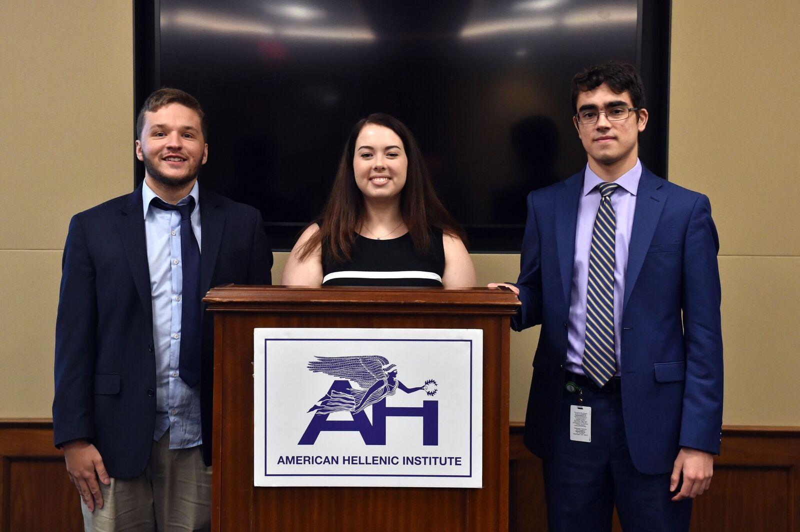 (L-R) AHI Summer Interns Konstantinos Tsarouchis, Hannah Henick, and Adonis Caramintzos