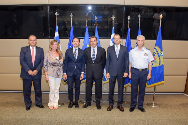(L-R) AHI President Larigakis, Gretchen O'Hara, VP, Marketing, One Commercial Partner, Microsoft, Ideagen Global Chairman and CEO George Sifakis, Minister of Defense of Nikos Panayiotopoulos, Deputy Minister of Defense Alkiviadis Stefanis, and General Christos Christodoulou, Chief, Hellenic National Defense General Staff.