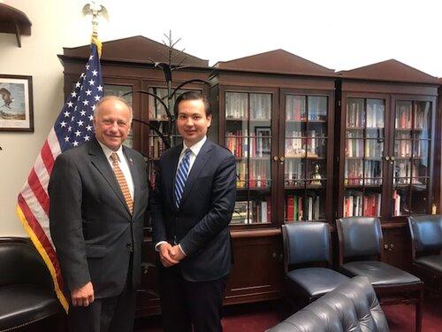 (L-R) Rep. Steve King (R-IA) Meeting With AHI Legislative Director Elias Gerasoulis