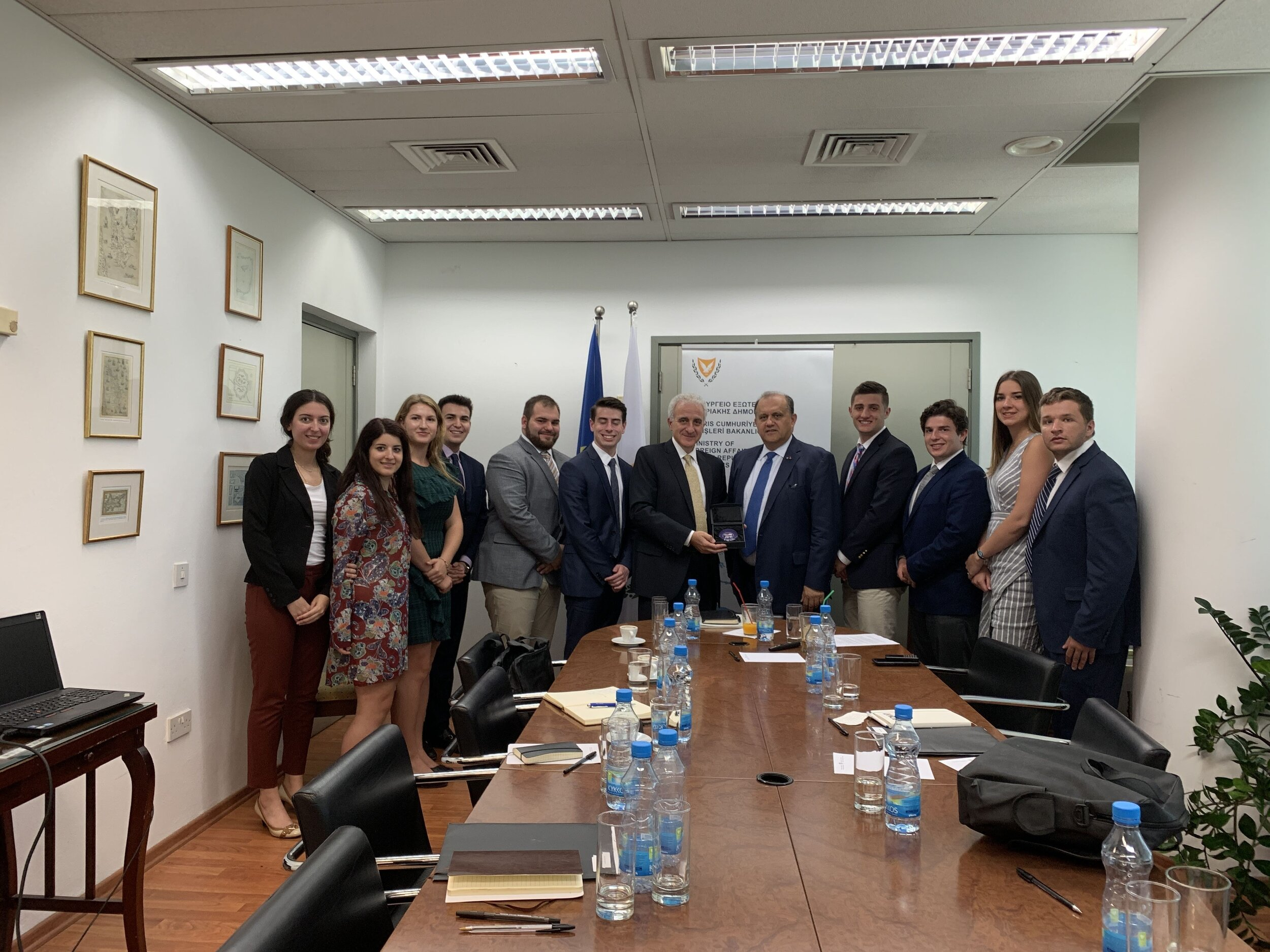 Students meeting with Director of Middle East and North Africa Directorate Ambassador Andreas Kakouris, a former Ambassador of Cyprus to the United States.