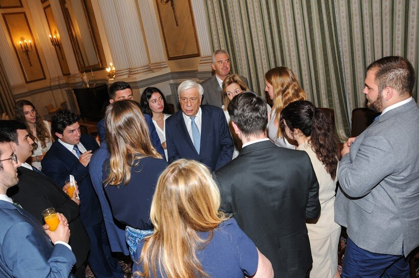 Students at Presidential Palace with President Prokopis Pavlopoulos