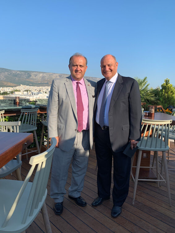 AHI President Nick Larigakis with Grande Bretagne Hotel General Manager, Mr. Tim Ananiadis, who has been instrumental in providing support to the AHIF Foreign Policy Trip over the years