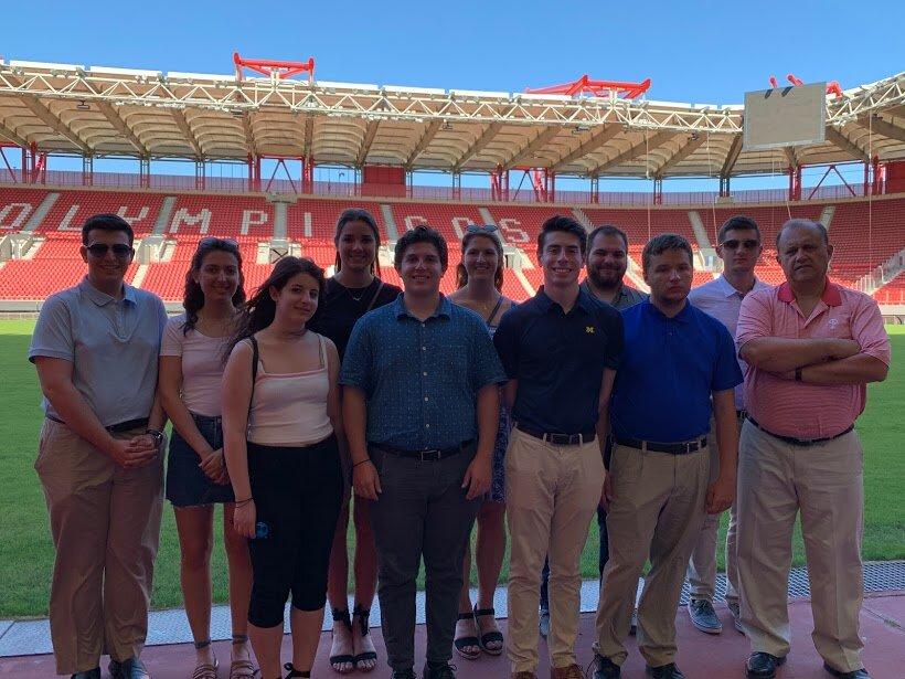 Touring Karaiskaki Stadium, home of the Olympiacos soccer team