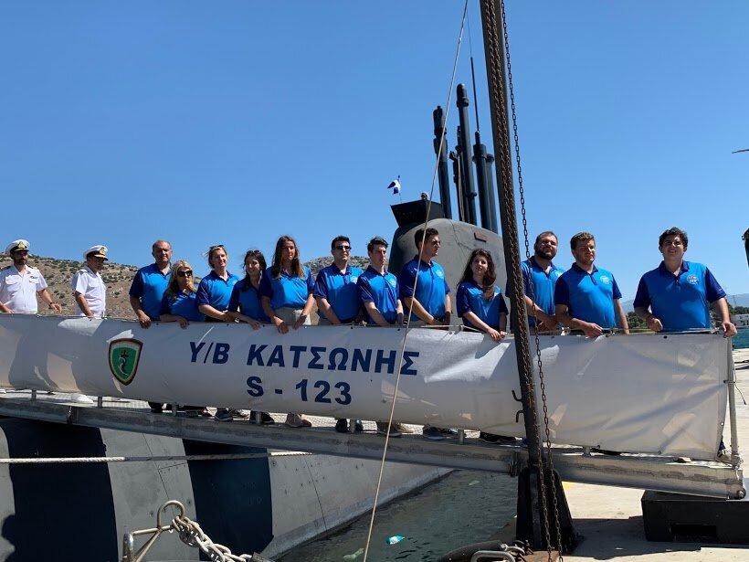 "Students on the submarine ""Katsonis"" at Salamis Naval Base"