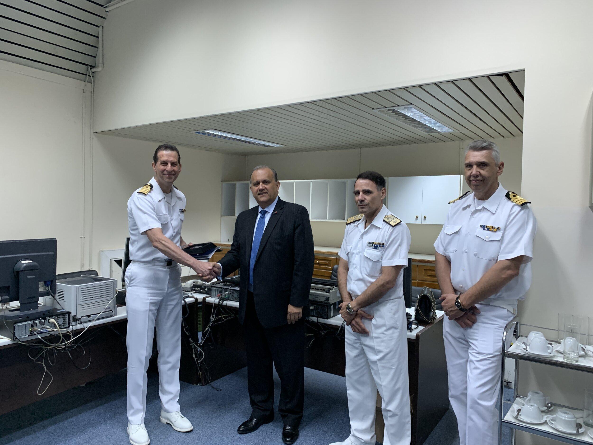 AHI President Nick Larigakis presenting commemorative memo at the Hellenic Fleet Headquarters, Maritime Operation Center