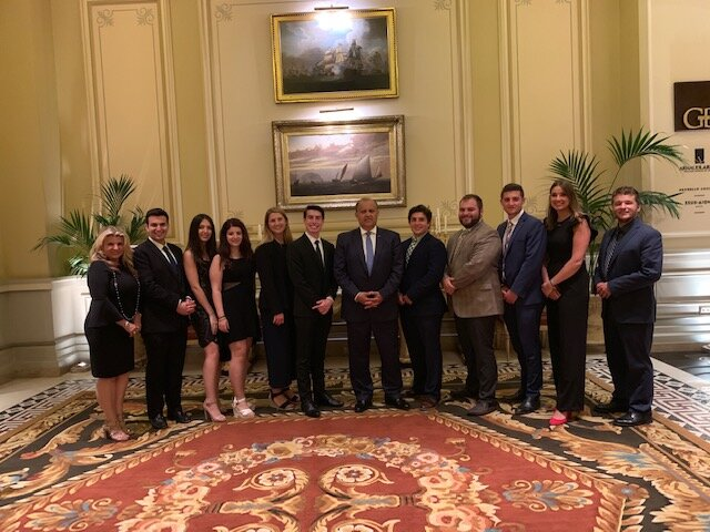 Farewell Dinner picture with 11th annual AHIF Student Foreign Policy Trip participants at the Grande Bretagne
