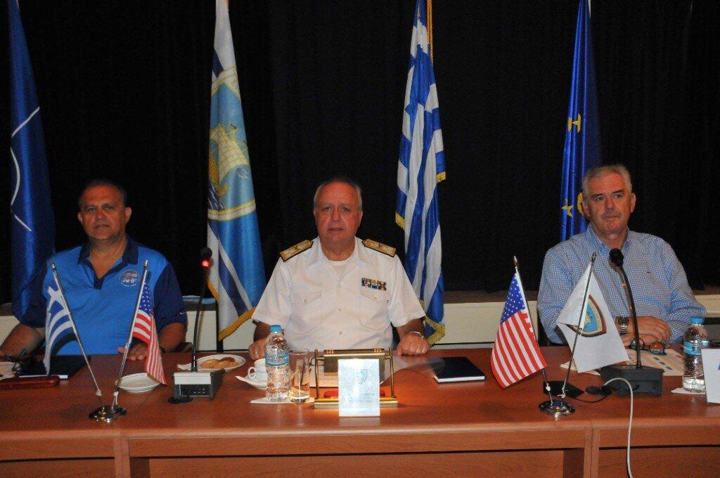 (L-R) AHI President, Nick Larigakis, Greek Naval Fleet Commander, Vice Admiral Stylianos Petrakis and AHI-Athens chapter VP, retired Rear Admiral, Vasileios Kyriazis at the Hellenic Naval Fleet HQ