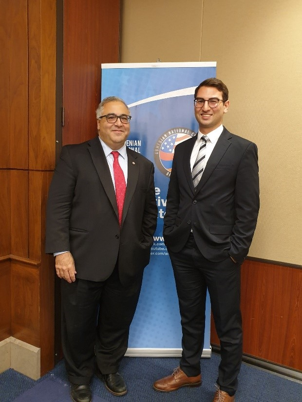 """Meeting Aram Hamparian (L), Executive Director of the Armenian National Committee of America, at the """"Lemkin Lecture: Reparations, Recognition & the Armenian Genocide""""."""