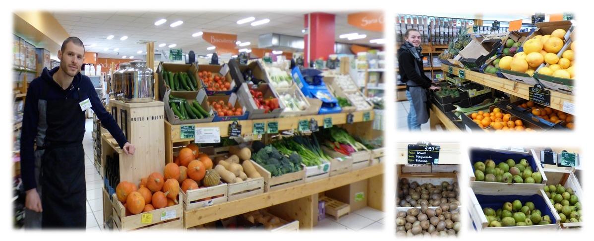 Tuzzy & Tristan vous accueillent au sein du rayon fruits & légumes du magasin Éthique Verte à Ramonville.