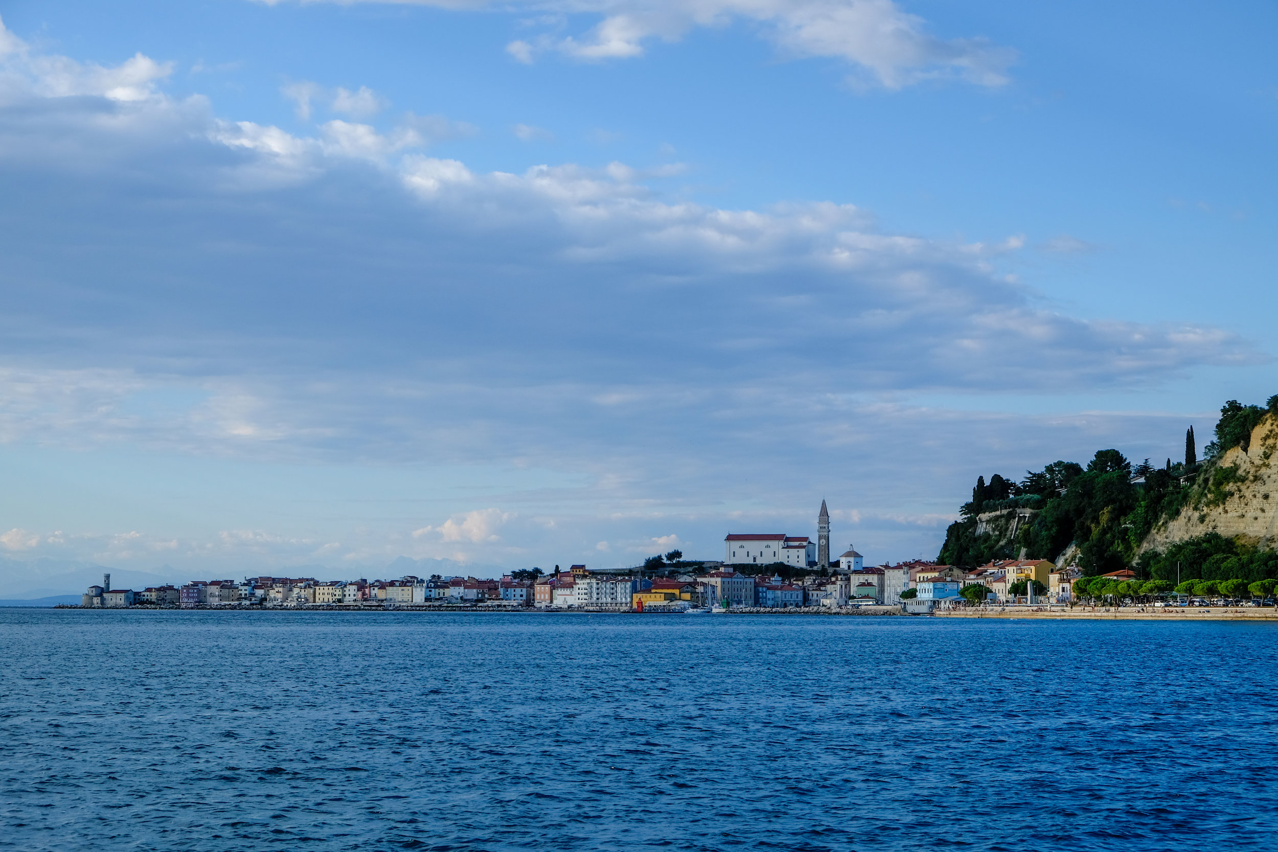 View of Piran from the Adriatic Sea