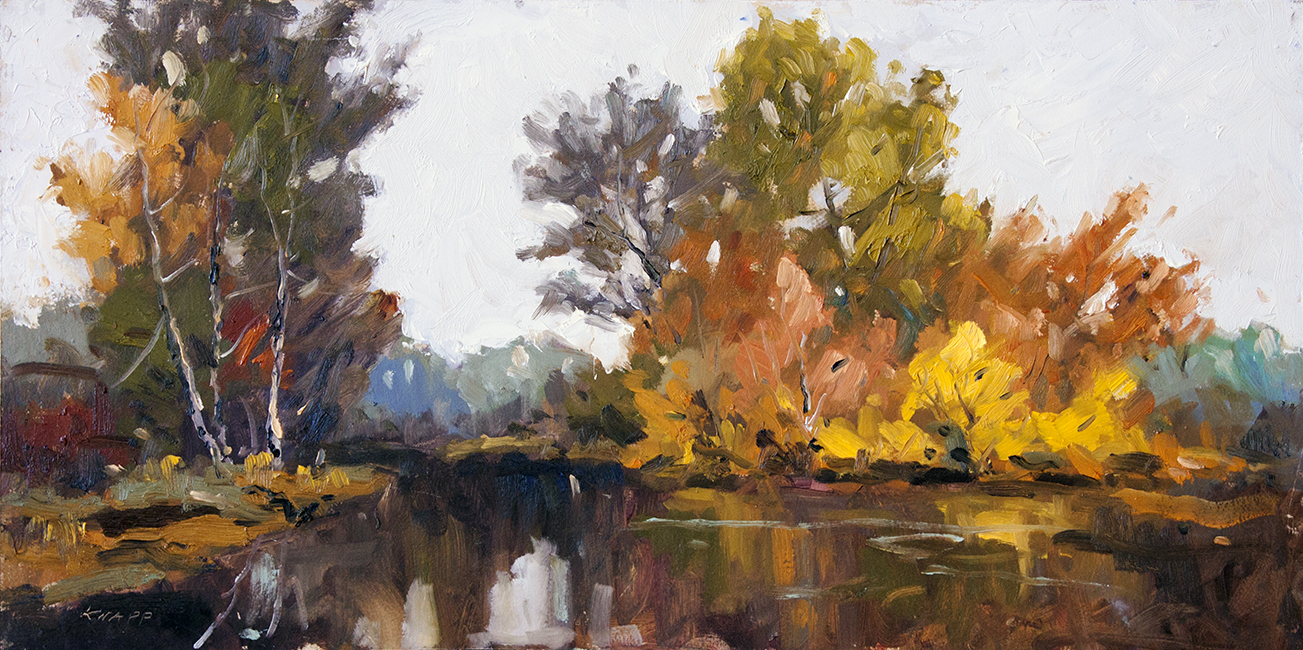 "Fall Flash - 24"" x 12"" - oil on board"