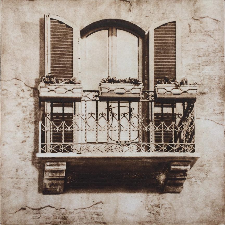 "Balcony in Florence - 6"" x 6"" - intaglio"