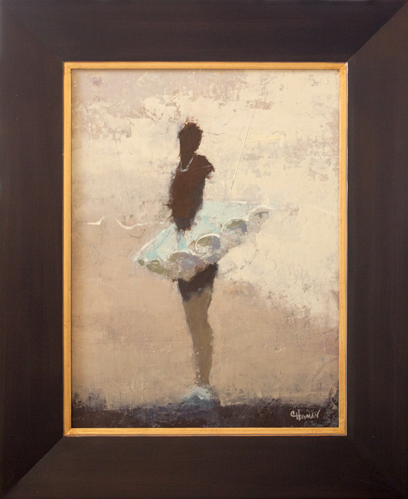 """Blue Tutu - 18"""" x 24"""" - oil and cold wax on canvas"""