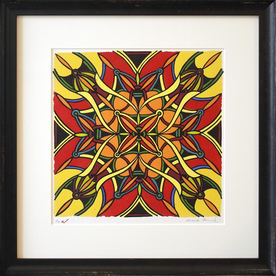 "Works and Days - 12"" x 12"" - linoleum tile print"
