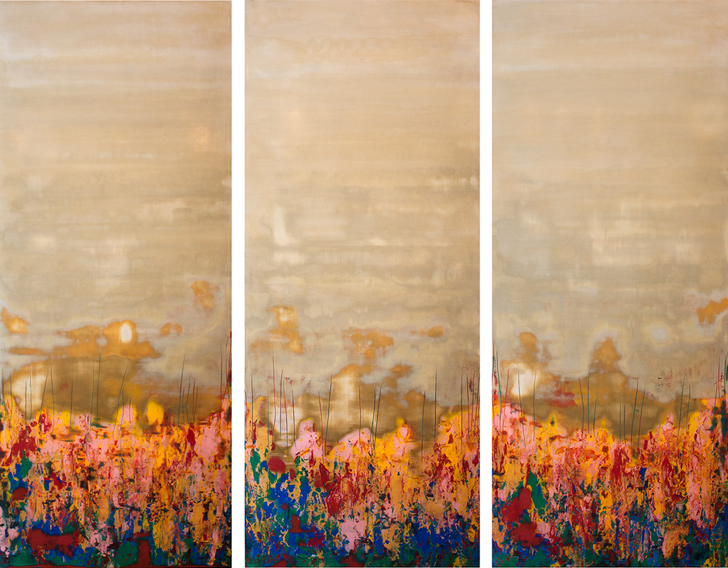 "Burst of Spring II - 72"" x 60"" - Venetian plaster on panel"