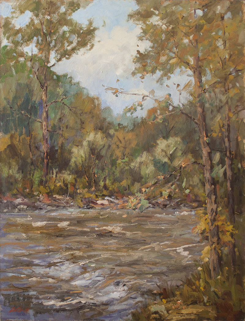 "Rushing River - 30"" x 40"" - oil on canvas"