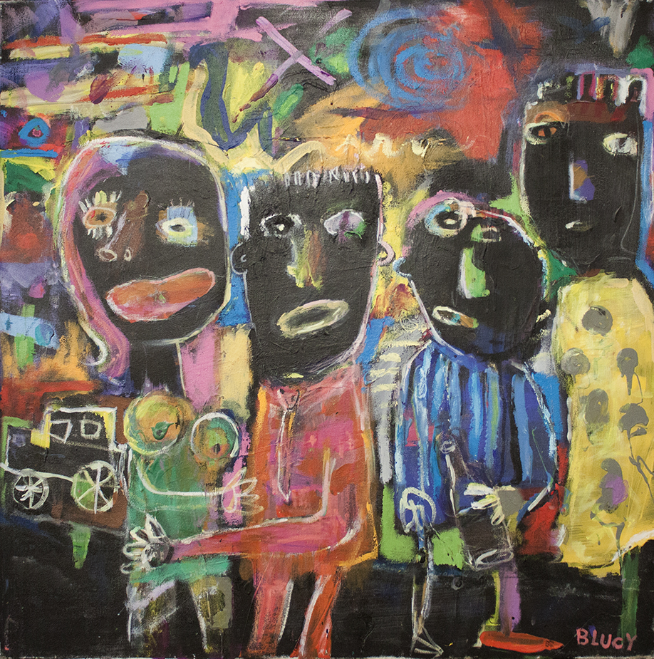 "Sunrise on Bourbon Street - 30"" x 30"" - mixed media on canvas"