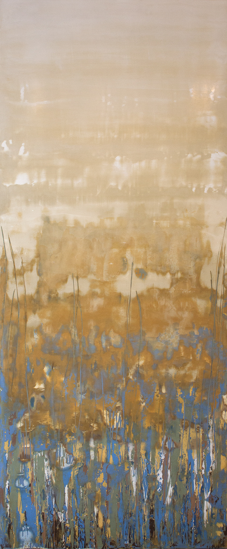 "SOLD Burst of Spring III - 24"" x 60"" - Venetian plaster on panel"