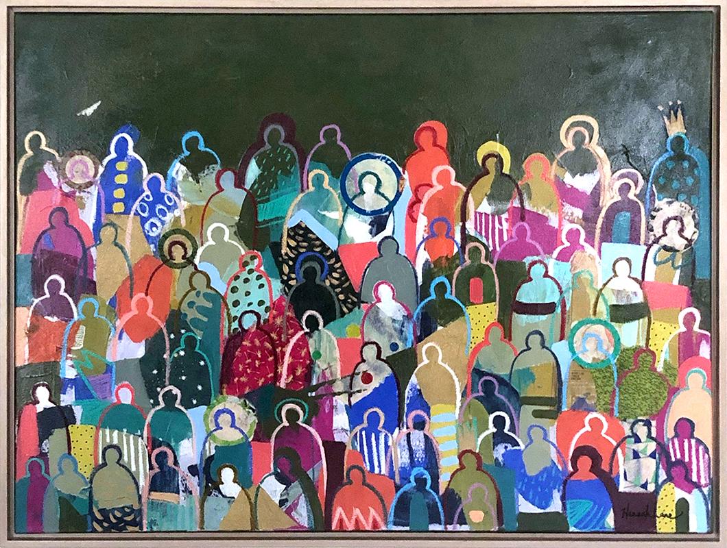 "Bohemian Crowd 2 - 48"" x 36"" - mixed media on canvas"