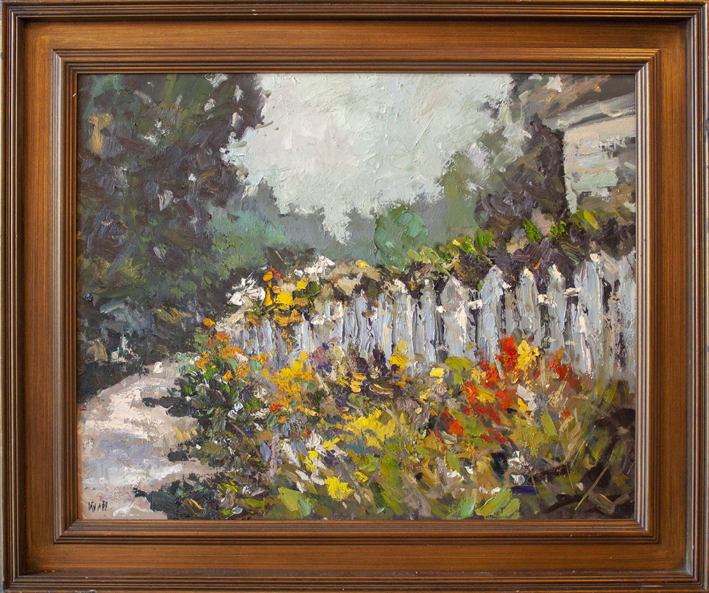 "Fence with Flowers - 30"" x 24"" - oil on canvas"