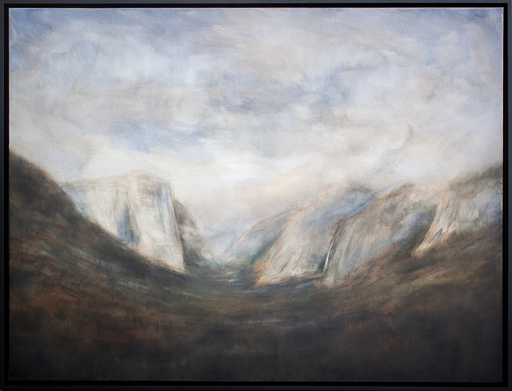 """Yosemite Valley - 48"""" x 36"""" - oil and encaustic on canvas"""