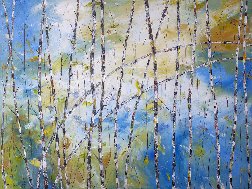 "Birches of Spring - 48"" x 36"""
