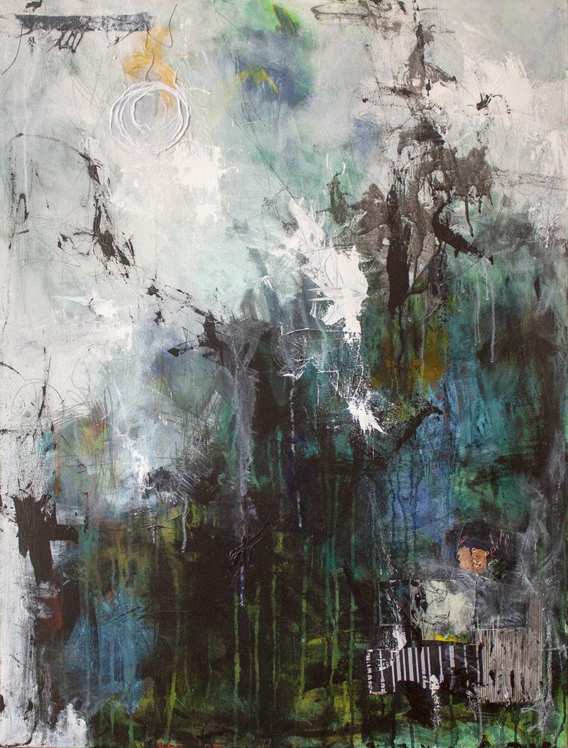 "Night Rainforest - 30"" x 40"" - acrylic on canvas"