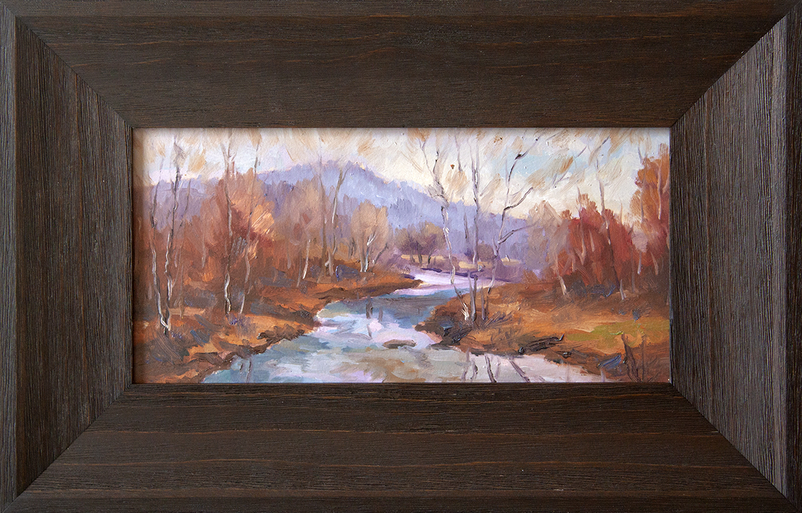 "Down the River - 12"" x 6"" - oil on board"