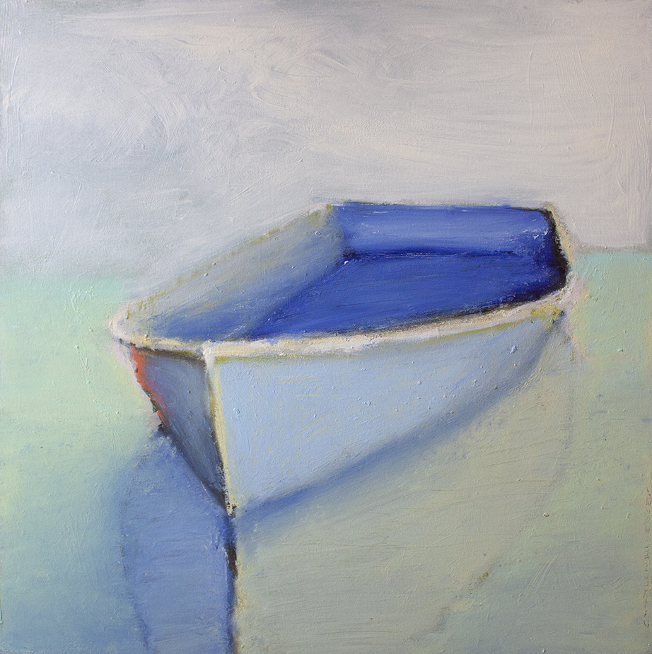 """SOLD Blue Bottom Boat - 40"""" x 40"""" - oil on canvas"""